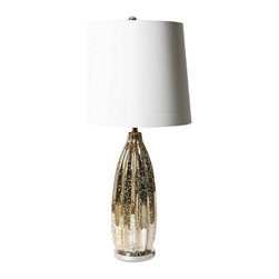 Vertuu Design - Isa Lamp - Add instant elegance to your home with the Isa Lamp. Featuring a pleated cylinder shape, flecked champagne finish and glass base, this lamp is eye-catching without being overwhelming. Other features include a smooth white drum shade and silver ball finial. Requires 60 watt maximum bulbs, bulbs not included.