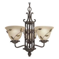Progress Lighting - Progress Lighting P4022-77 Three-Light Chandelier With Amber Linen Glass Shade - Three-light chandelier with amber linen glass.