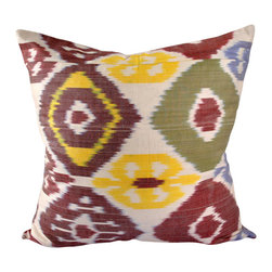 """Bukhara Spice 20"""" Ikat Pillow Cover - P-A466 - Ikat pillow cover constructed from hand woven Ikat fabric from Uzbekistan. One of our warm yet mellower colored Ikat pillow covers, featuring burgundy, gold and tan tones with a touch of grey. This pillow would spice up a room, adding some warm pizazz at the same time."""