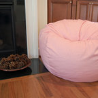 "Bean Bag Chairs for Girls Rooms - Ahh! Products organic cotton bean bag chair in pink. Remove and wash cover, water-repel liner. 37"" wide large size. 10 year warranty, Made in USA."