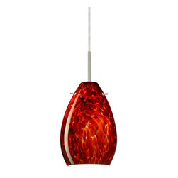 Besa Lighting - Besa Lighting 1BT-171341 Pera 1 Light Cord-Hung Mini Pendant with Garnet Glass S - The Pera 6 is a curvy bell-bottomed shape, that fits nicely into any contemporary design. Our Garnet glass is full of floating, vibrant red tones with a mix of black and white tones behind them. When the glass is lit the fiery color palette illuminates to exude a harmonious display. This d�cor is created by rolling molten glass in small bits of deep red hues called frit along with black glass powders. The result is a multi-layered blown glass, where frit color is nestled between an opal inner layer and a clear glossy outer layer. This blown glass is handcrafted by a skilled artisan, utilizing century-old techniques passed down from generation to generation. Each piece of this d�cor has its own artistic nature that can be individually appreciated. The cord pendant fixture is equipped with a 10' SVT cordset and a low Profile flat monopoint canopy.Features: