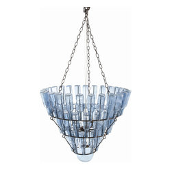 "Arteriors - Arteriors Home - Stedman Blue 5L Chandelier - 89327 - 5-light iron chandelier with rust finish displays 52 vintage pale azure blue glass bottles on 3 tiers of outward leaning rings with a clear glass globe accenting the bottom of the piece Features: Stedman Collection Chandelier Rust/Vintage Blue Glass52 Bottles5-light iron chandelier Some Assembly Required. Dimensions: H 52"" x 29"" Dia"