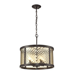 Elk Lighting - Chandler Oil Rubbed Bronze Four Light Pendant - - This series features a crosshatch patterned glass that exudes dazzling light textures. The glass is held by a heavy metal frame with stepped rings to further enrich the distinction of the design. Choose between Polished Nickel with clear glass or Oil Rubbed Bronze with champagne glass.  -3 Ft. of chain and 6 Ft. of wire Elk Lighting - 31452/4