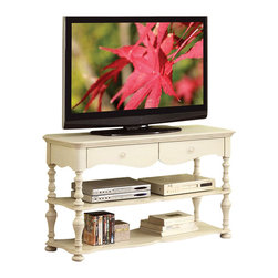 Riverside Furniture - Riverside Furniture Placid Cove Console Table in Honeysuckle White - Riverside Furniture - TV Stands - 16715 - Riverside's products are designed and constructed for use in the home and are generally not intended for rental commercial institutional or other applications not considered to be household usage. Riverside uses furniture construction techniques and select materials to provide quality durability and value in their products. The construction of Riversides core product line consists of a combination of cabinetmaker hardwood solids and hand-selected veneers applied over medium density fiberboard (MDF) and particle board. MDF and particle board are used in quality furniture for surfaces that require stability against the varying environmental conditions in modern homes.You'll appreciate the multiple-step application of Riverside's furniture finishes. Their finishing processes involve several steps of hand sanding applications of several types of finishing coats padding and polishing.