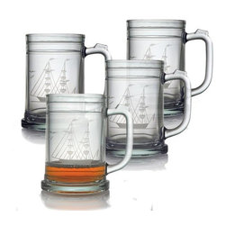 INSTEN - Clipper Ship Tankard Mugs (Set of 4) - Raise a toast to anything special with a decorative Susquehanna glass. Designed in the tankard style that is suitable to beer, grog, and other drinks, the glass features an image of the clipper ship the Susquehanna etched into the side.