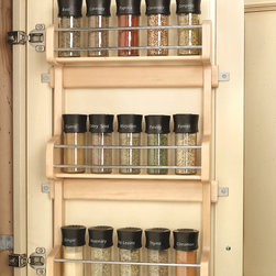 """Wood Classics Maple Spice Rack - Maintain shelf space and keep spices reachable in this Rev-A-Shelf Wood Classic Door Mount Spice Rack.  Made of attractive birch/maple hardwood, this storage saver is available for Wall 18"""" and 21"""" cabinets."""