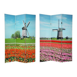 Oriental Unlimted - 3-Panel Double Sided Windmills Room Divider - One double-sided divider, both sides shown in image. Lightweight and durable privacy screens. Stunning visual art and a quality room divider. Practical and picturesque windmills and less practical but equally picturesque tulips. Beautifully printed with remarkable high tech printers. Great for dividing space, providing privacy, hiding unsightly areas, a decorative background or defining a cozy space. Almost entirely opaque, light doesn't pass the double layer of printed canvas. Mount flat on the wall for a huge and eye catching piece of wall art. Made from wood frames covered with art quality poly-cotton blend canvas. Each panel: 15.75 in. W x 70.88 in. H. Base weight: 8.25 lbs.