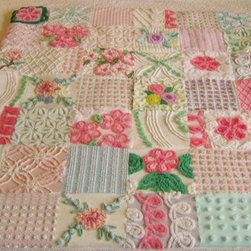 Custom Baby Quilt, Vintage Chenille Garden by Surely Chenille - Does your teen love the granny-chic look? I could definitely see this quilt draped over a tween's or teen's bed. The bright colors would provide a great jumping-off point for a young bedroom.
