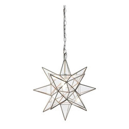 "Worlds Away - Worlds Away Clear Glass Star Chandelier-Available in Three Different Sizes, Smal - This charming chandelier features a Moravian star pendant with clear glass. The chandelier is available in three different sizes.  Each size has a single socket for a 60 watt max bulb and comes with 3 feet of antique brass chain and canopy. The Small measures 12"" in diameter, the Large is 15"" in diameter and the Extra-Large is 20"" in diameter."