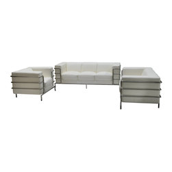 Diamond Sofa - Citadel Sofa Loveseat Chair 3PC Set by Diamond Sofa - The Citadel Collection by Diamond Sofa is a Le-Corbusier-inspired design with an exposed tubular steel wrap-around frame .  Covered with plush, deep cushioning, this contemporary collection offers a modern approach to a classic frame.  The White Bonded Leather Sofa, Loveseat and Chair features a kiln-dried hardwood frame that is glued and reinforced, offers strength, while the zig zag spring suspension base gives you a supple seating that will hold up for years.  The elastic webbing back suspension offers additional stability while allowing for the leather to breathe and maintain its shape.  Seat cushions are comprised of a high density foam cushion wrapped in polyester fibers to ensure a comfortable, relaxing and lasting seat.  Seat cushions and back pillows are attached to the frame to eliminate shifts or gaps. The crisp and angular lines promote an aura of strikingly modern comfort.  White Bonded leather finishes the piece, to provide and ensure years of comfort and enjoyment.  Citadel Sofa measures 79 inches wide by 33 inches deep by 28 inches high. Citadel Loveseat measures 58 inches wide by 33 inches deep by 28 inches high. Citadel Chair measures 39 inches wide by 33 inches deep by 28 inches high.