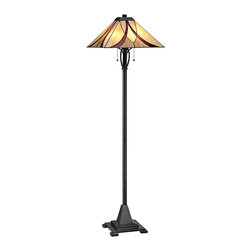 "Quoizel - Tiffany Quoizel Asheville Valiant Bronze Tiffany Style Floor Lamp - The Asheville floor lamp from Quoizel features a slender column base with gentle scrollwork in a valiant bronze finish. Up top sits a Tiffany-style shade made from 44 pieces of art glass in neutral tones and a swooping pattern. The art glass shade is hand-assembled using the same copper foil method developed by Louis Comfort Tiffany. A sophisticated decor accent that will brighten your living space in classic Craftsman style. Tiffany style floor lamp. Resin and art glass construction. Valiant bronze finish. Glass count 44 pieces. Takes two 100 watt medium base bulbs (not included). 60"" high. Shade is 17"" wide 17"" deep.  Tiffany style floor lamp.  Resin and art glass construction.  Valiant bronze finish.  Glass count 44 pieces.  Takes two 100 watt medium base bulbs (not included).  60"" high.  Shade is 17"" wide 17"" deep."