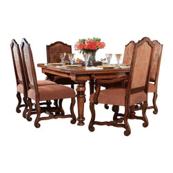 """Hooker Furniture - Wavery Place Refectory Table - White glove, in-home delivery included!  Table only.  Two self-storing 22"""" leaves extend table to 126 1/2"""" long.   Distance from floor to apron: 25""""  Distance inside legs - long side: 60 3/8"""""""