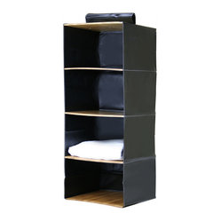 Great Useful Stuff - Bamboo Closet Organizer, 4 Shelves - Every closet can benefit from a little storage upgrade here and there. Why not replace your old wire hangers with a chic bamboo and leatherette hanging shelve and get your sweaters, jeans and handbags their proper place? Hang just one of these and see how much easier it is getting dressed in the morning.