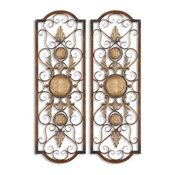 Uttermost - Uttermost 13475  Micayla Antique Metal Panels, Set/2 - This decorative wall art is made of hand forged and hand embossed metal. the finish is distressed, chestnut with burnished edges and antiqued gold details. companion piece is item #13476.