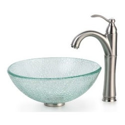 Kraus - Kraus Mosaic Glass 14 inch Vessel Sink and Riviera Faucet Satin Nickel - *Add a touch of elegance to your bathroom with a glass sink combo from Kraus