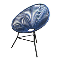Ellipse Chair - Hand dyed, soft cotton cords create a tonal variation and comfortable nest, while the iron base provides substantial support. Perfect as an accent chair in any room in your home, it will quickly become the seat everyone is fighting over.