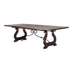 Patagonia Legacy - Fraile Dining Table DS109 - This table features hand scrolled harp legs and a hand forged stretcher.
