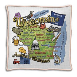 Pure Country Weavers - Wisconsin State Pillow - This nostalgic replica of a state pillow is reminiscent of needlework done by ladies in the 1940's. The vibrant colors of these state maps would be a fine addition to any home decor.  -Cotton  -Made in USA  -Zippered with pillow insert and corded  -Note:  Image above may be an artistic rendering.  The actual product after weaving may have more subtle colors and details. Pure Country Weavers - 3916-P