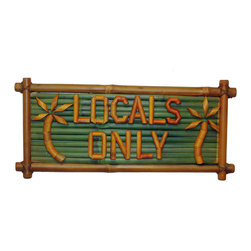 Bamboo54 - Sign Bamboo Local's Only - The Sign Bamboo Local Only is perfect for your island luau! This tropical bamboo wall decoration features bamboo lettering and a palm tree design against a deep green background. This sign measures 20 in.  long by 10 in.  high and has a bamboo frame with rustic style bindings at each corner. This handcrafted item is made of durable real bamboo for long lasting use. Perfect for your bars or recreation room, purchase this bamboo sign online today!