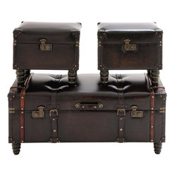 """Benzara - The Timeless Set of 3 Wood Leather Trunk - Are you looking for a stylish way to store your things? Looking for trunks that won't just store things but will also double up as decor items? Well, now you will find this combination in these wood leather trunks. In what are stunning exteriors, these trunks are made from wood and leather. Useful for keeping thing from your bedroom, these trunks can store various items in them. Say prized letters, photos from the past or any other bric-a-brac item. Additionally, they will have a long life because they have been made using quality materials. Their smooth leather exterior will enamor one and all; and hence complements will flood in your way. Indeed they are timeless creations: so get them today. Wood leather trunk dimensions: 40 inches (W) x 16 inches (D) x 18 inches (H); 17 inches (W) x 13.5 inches (D) x 15 inches (H); 17 inches (W) x 13.5 inches (D) x 15 inches (H); Wood leather trunk color: Dark gray; Made from: Wood, leather; Dimensions: 23""""L x 10""""W x 25""""H"""