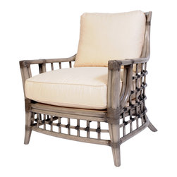 David Francis Furniture - Somerset Lounge Chair, Alabaster - The beautiful webbing pattern on this smoke-colored lounge chair is inspired by fishing nets tossed out at sea. Leather-wrapped joints are a final touch that make this chair feel complete.