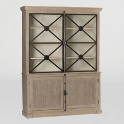 Walden Cabinet by Gabby - Antique style and modern design are reflected in the functional Walden Cabinet. The antique layered grey and white finish and antique black finished iron accents surround clear glass doors. The beautiful cast French Cremone Bolt Hardware adds a nice touch.