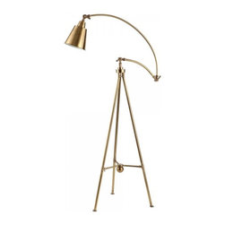 ParrotUncle - Solid Brass Tripod Floor Lamp - Bring your home an updated look by placing this brass floor lamp in your living room or bedroom. This tripod floor lamp has a swing arm, which allows you to fully adjust the height and angles according to your needs. The shiny antique brass finish gives it a classy and charming look, blending perfectly with various styles. A dimmer switch is also provided for convenience.