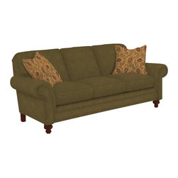 Broyhill - Broyhill Larissa Green Olive Queen Goodnight Sleeper Sofa with Cherry Wood Finis - Broyhill - Sleeper Sofas - 61127Q - About This Product: