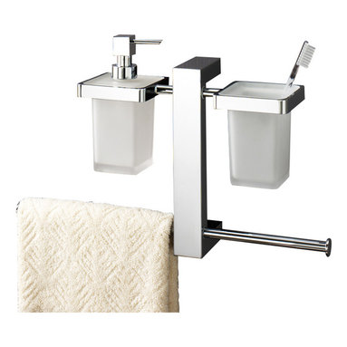 Gedy - Wall Mounted Rack With Toothbrush Holder, Soap Dispenser, and Sliding Towel Rail - Wall mounted contemporary style bathroom rack.