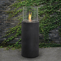 Real Flame - Real Flame 'Modesto' 38-inch Black Fire Column - Real Flame introduces this black fire column for enjoying the outdoors. This stunning column design enhances virtually any setting. The Modesto with its 38-inch fire column complements outdoor furnishings. This column allows for 360-degree enjoyment.