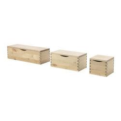 Eva Lilja Löwenhielm - MOLGER Box with lid, set of 3 - Box with lid, set of 3, birch