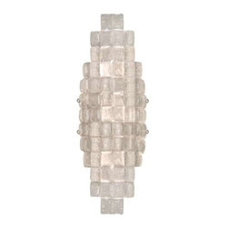 840850ST Sconce Constructivism - Sconce of individually cast Moonlit Mist clear glass pillow-shaped pieces, fused at high temperature in a hand-laid cobblestone pattern. The sole lenses create a fascinating light diffuser & sculptural form. Exposed metal in hand-applied silver leaf.