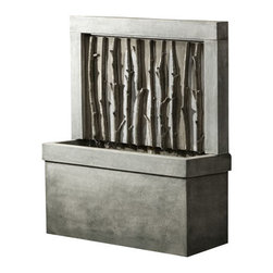 Campania - Birches Outdoor Water Fountain, English Moss - Give your garden or patio the perfect conversation piece with Birches Outdoor Water Fountain. The background of the fountain is tall and limber branches, which create a beautiful and aesthetically pleasing look. Let the soothing sounds of moving water enhance your favorite outdoor spot.
