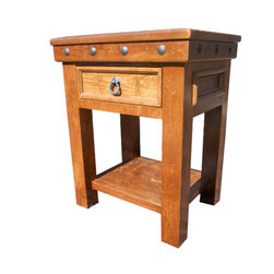 Durango Bedside Table - Bedside table shown has English chestnut stain and no glaze.  Can be customized to your liking!