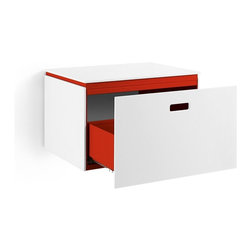 WS Bath Collections - Ciacole Red Cabinet With Drawer - Ciacole 8060 Base Cabinet with One Drawer in Red Painted Aluminum and White Mattstone, Base Cabinet with One Drawerm Designed for Use With a Vessel (Countertop) Bathroom Sink In Red Painted Aluminum and White Mattstone, Free Standing, Made in Italy