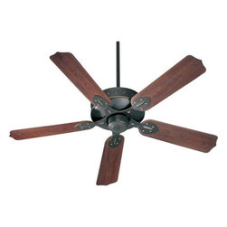 Quorum International - Hudson Old World Energy Star 52-Inch Patio Fan - -Amps: .57/.39/.21  -Fan Watts: 69/30/9  -RPM: 163/110/65  -Motor Size: 172x14  -Motor Poles: 16  -Motor Warranty: Limited Lifetime  -Motor Lead Wire: 80  -Motor Switch Type: Hi/Med/Low/Off  -Motor Reverse Type: Slide  -Five Walnut Blades  -Blade Sweep: 52  -Arm Pitch: 14  -Down Rod Included: 6  -Ceiling to Lower Edge of Blade: 14.75  -Fan Housing Width: 12.52  -Optional remote control available.  See companioned items to order. Quorum International - 137525-95