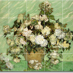 Picture-Tiles, LLC - Roses2 Tile Mural By Vincent Van Gogh - * MURAL SIZE: 32x40 inch tile mural using (20) 8x8 ceramic tiles-satin finish.