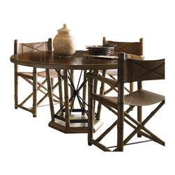Henry Link - Henry Link Safari Dining Table in Rosewood and Linen Crackle - Henry Link - Dining Tables - 014011425C - About This Product: