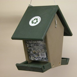 Songbird Essentials - Recycled Plastic Small Hopper Feeder - Recycled Plastic Small Hopper (Hunter Driftwood). Perfect for all types of birds and holds 1.5 quarts of seed. Easy to clean and disinfect 9.75 x 6 x 10.25