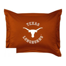 Sports Coverage - The University Of Texas Longhorns Locker Room Collection Pillow Sham - Show your team spirit with this officially licensed 25 x 31 Texas Longhorns sham. There is a 2 flanged edge that decorates all four sides of each Texas NCAA sham. Made of 100% polyester jersey mesh, just like the players wear, with screen printed Texas Longhorns logo in the center. Envelope closure in back. Fits standard pillow. Coordinates with Texas Locker Room Collection. 3 overlapping envelope closure is on back.