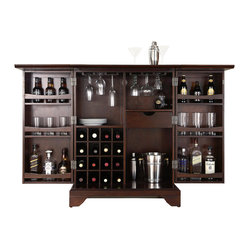 LaFayette Expandable Bar Cabinet - Vintage Mahogany Finish