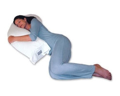 """Snoozer Body Pillows - Snoozer Upper Body Pillow in White (White European Natural Goose Down) - Choose Material: White European Natural Goose DownPromotes proper spinal alignment. Enhances muscular relaxation. Promotes healthier circulation. Reduces head, neck and back strain. Reduces pillow repositioning. Arthritis and fibromyalgia relief. Ideal pregnancy support. Excellent nursing pillow. Great for men and women. Great for reading or watching TV. 40 in. L x 14 in. W x 6 in. H (5 lbs.)Simply put the Snoozer Upper Body Pillow is evolution of the standard rectangular bed pillow. Unlike the old-fashioned rectangular shape of traditional bed pillows this patented design is specifically shaped to fit the curves of your upper body. Are you tired of struggling with one or two traditional pillows during the night as you """"flex and curve"""" them to support your head, shoulders, and possibly even your chest at the same time? With the use of the Snoozer Upper Body Pillow this struggle can stop and the business of restful sleep can begin! Whether you are a stomach, side, or back sleeper this unique contoured design will easily adjust to your various sleeping positions during the night so you can get the support where you need it most. By providing the support of 2 pillows in 1 design the top curved section cradles your head, neck and shoulders while the lower section supports your chest, stomach, hips, and lower back. By promoting proper spinal alignment this can help to enhance muscular relaxation, promote healthier circulation, and improve your ability to get a night of quality rest on a regular basis. This makes it a great solution for those that suffer from arthritis, injuries, back pain, or simply sore muscles. Can your pillow, or pillows, do this? This pillow is available in a variety of synthetic and natural goose down fillers and is produced here in the USA."""