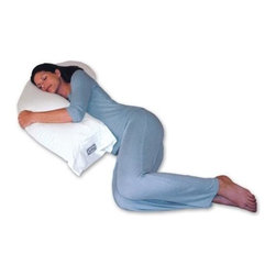 "Snoozer Body Pillows - Snoozer Upper Body Pillow in White (White European Natural Goose Down) - Choose Material: White European Natural Goose DownPromotes proper spinal alignment. Enhances muscular relaxation. Promotes healthier circulation. Reduces head, neck and back strain. Reduces pillow repositioning. Arthritis and fibromyalgia relief. Ideal pregnancy support. Excellent nursing pillow. Great for men and women. Great for reading or watching TV. 40 in. L x 14 in. W x 6 in. H (5 lbs.)Simply put the Snoozer Upper Body Pillow is evolution of the standard rectangular bed pillow. Unlike the old-fashioned rectangular shape of traditional bed pillows this patented design is specifically shaped to fit the curves of your upper body. Are you tired of struggling with one or two traditional pillows during the night as you ""flex and curve"" them to support your head, shoulders, and possibly even your chest at the same time? With the use of the Snoozer Upper Body Pillow this struggle can stop and the business of restful sleep can begin! Whether you are a stomach, side, or back sleeper this unique contoured design will easily adjust to your various sleeping positions during the night so you can get the support where you need it most. By providing the support of 2 pillows in 1 design the top curved section cradles your head, neck and shoulders while the lower section supports your chest, stomach, hips, and lower back. By promoting proper spinal alignment this can help to enhance muscular relaxation, promote healthier circulation, and improve your ability to get a night of quality rest on a regular basis. This makes it a great solution for those that suffer from arthritis, injuries, back pain, or simply sore muscles. Can your pillow, or pillows, do this? This pillow is available in a variety of synthetic and natural goose down fillers and is produced here in the USA."