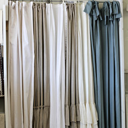 Shower Curtains - LD Linens - Josephine Collection of 74x96 shower curtains.  We offer 6 different designs in our washable linen & cotton fabrics.  They can be used for shower curtains or drape panels.