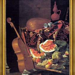 "Cristoforo Munari-16""x20"" Framed Canvas - 16"" x 20"" Cristoforo Munari Still-Life with Musical Instruments and Fruit framed premium canvas print reproduced to meet museum quality standards. Our museum quality canvas prints are produced using high-precision print technology for a more accurate reproduction printed on high quality canvas with fade-resistant, archival inks. Our progressive business model allows us to offer works of art to you at the best wholesale pricing, significantly less than art gallery prices, affordable to all. This artwork is hand stretched onto wooden stretcher bars, then mounted into our 3"" wide gold finish frame with black panel by one of our expert framers. Our framed canvas print comes with hardware, ready to hang on your wall.  We present a comprehensive collection of exceptional canvas art reproductions by Cristoforo Munari."