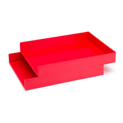 Poppin - Letter Trays, Set Of 2, Red - Get shelter from incoming clutter bombs with this set of two stackable boxes. Each measures 12 1/2 by 9 3/4 by 1 3/4 inches, is finished in your choice of eye-popping colors in a lacquer-like finish and coordinates with other accessories in the same line. Stack up some tidy style points.