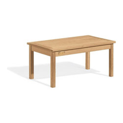 Oxford Garden - 36 in. Cocktail Table - A great addition to complete a grouping of chairs or benches, this sturdy three-foot cocktail table may be that extra piece that makes a setting look finished.  This table is made of shorea, a teak family wood that is more dense and heavy than teak.  Shorea requires no finishing and will not rot when left outdoors where rain and sun will damage other lesser quality woods.  Left untreated, shorea will weather to a soft warm shade of gray similar to the weathering of teak.  Sturdy mortise and tenon construction provides the highest quality joinery that will last for many years.  Original color can be maintained by applying a seasonal coat of teak oil.