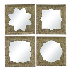 Sterling Industries - Pine Island-Set Of 4 Moroccan Motif Inspired Mirrors - THIS SET OF 4 MIRRORED WALL PANELS ARE FORMED FROM METAL PIERCED IN TRADITIONAL MOORISH PATTERNS. MIRRORED BACKS REFELECT LIGHT AND CREATE AMBIENCE.