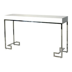 worlds away - Worlds Away Barsanti Lacquer Console, White and Stainless Steel - Worlds Away Barsanti Navy and Stainless Steel Lacquer Console