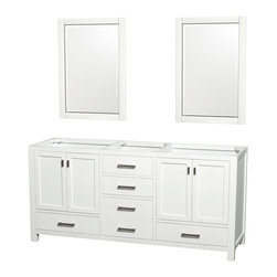 Abingdon 72 Double Bathroom Vanity Set White - Distinctive styling and elegant lines come together to form a complete range of modern classics in the Abingdon Bathroom Vanity collection. Inspired by well established American standards and crafted without compromise, these vanities are designed to complement any decor, from traditional to minimalist modern.